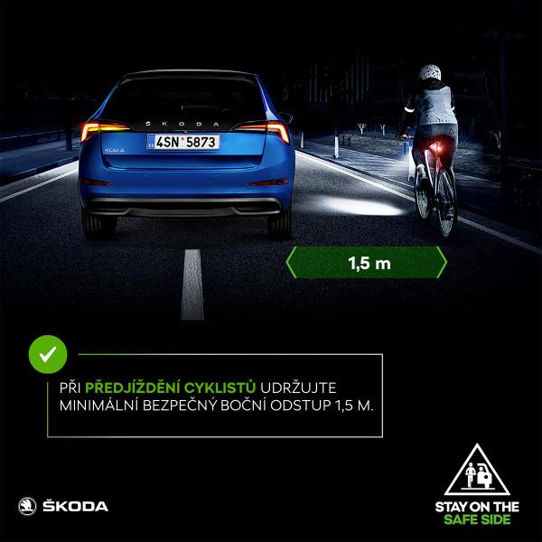 """Na úvod cyklistické sezóny zahajuje ŠKODA dopravněbezpečnostní kampaň """"STAY ON THE SAFE SIDE"""". Cílem je posílit vzájemné pochopení, respekt a ohleduplnost motoristů a cyklistů v silničním provozu."""